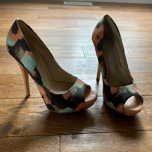 Aldo teal, coral and brown patterned heels